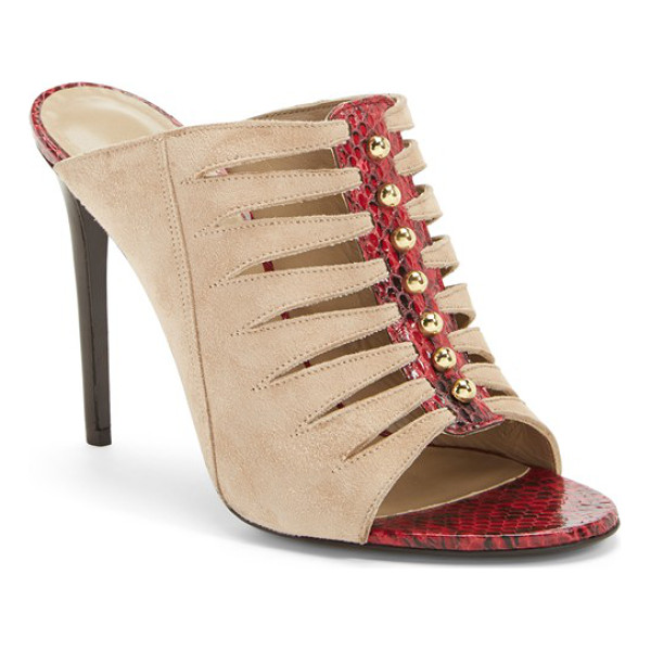 TAMARA MELLON mule sandal - An exotic mix of snakeskin-embossed leather, sandy suede,...