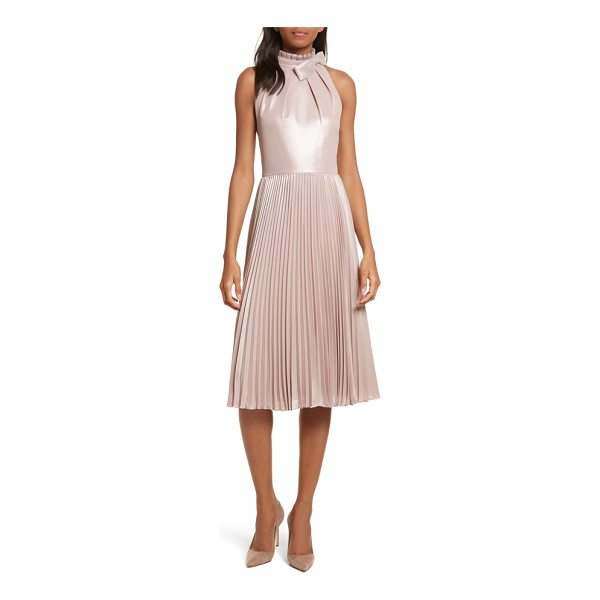 TED BAKER bow neck fit & flare dress - Enriched with a satiny shimmer, an iconic ladylike dress is...