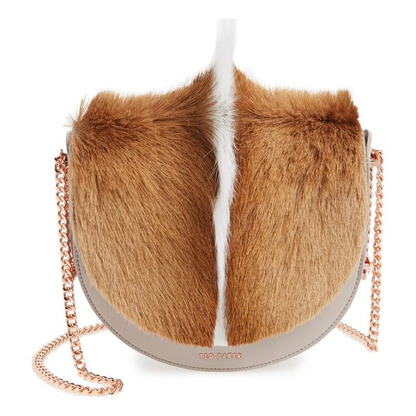 TED BAKER alisonn leather & genuine springbok fur saddle bag - Exotic springbok fur on the curved flap adds elegant...
