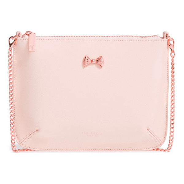 TED BAKER amalia leather crossbody pouch - A metal bow charm adds a delicate, feminine touch to a slim...