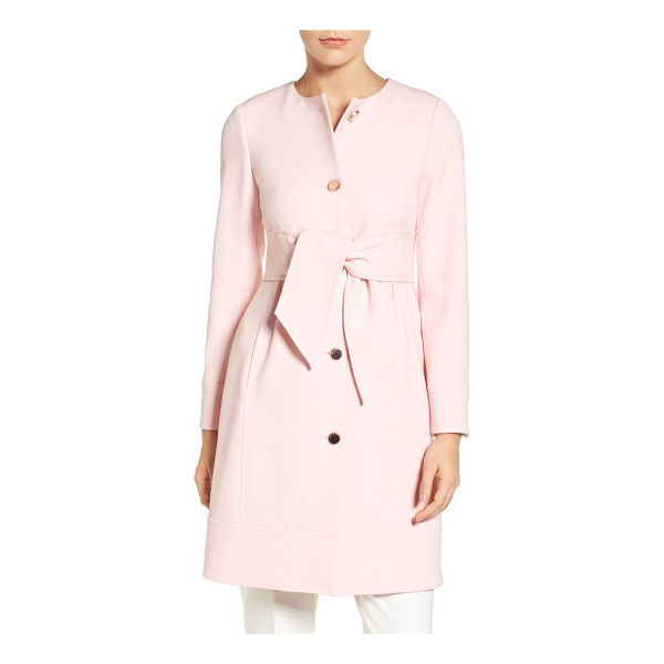 TED BAKER belted crepe coat - A wide obi-inspired belt shapes the waist-nipped silhouette...