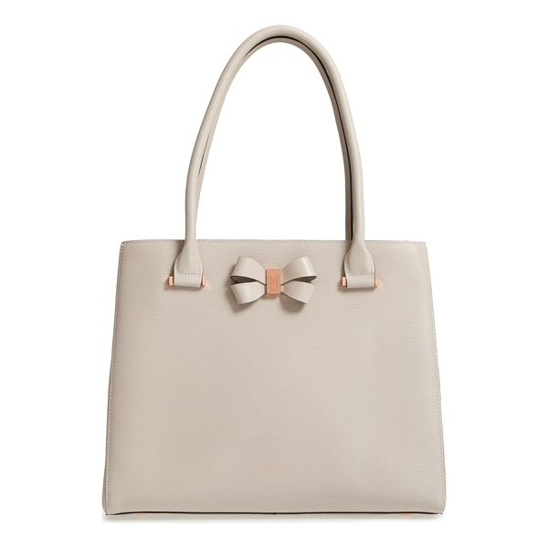 TED BAKER callaa bow leather shopper - Gilt hardware instantly elevates a textured leather shopper...