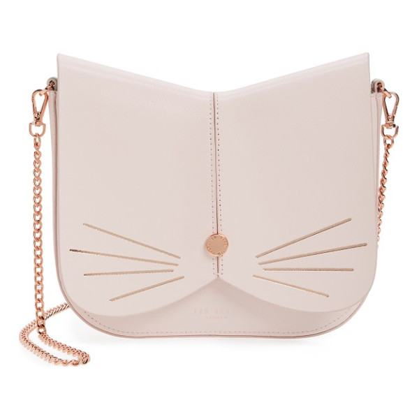 TED BAKER LONDON cat leather crossbody bag - A feline-inspired handbag complete with whiskers, a button