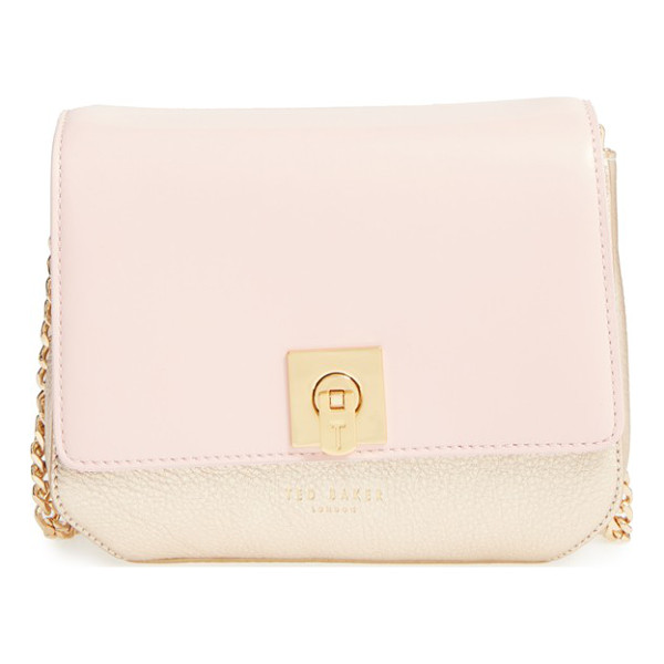 TED BAKER 'chelsee' leather crossbody bag - A smooth leather flap plays beautifully against the supple...