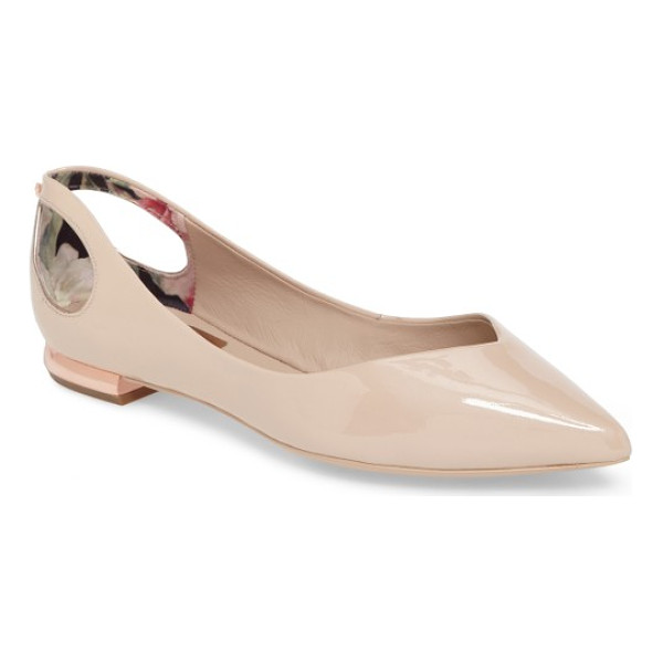 TED BAKER dabih cutout pointy toe flat - Bow cutouts and a gilded, logo-etched heel add signature...