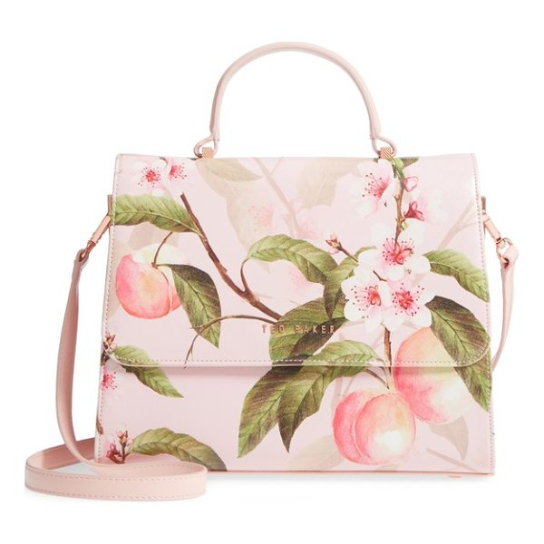 TED BAKER dipelta peach faux leather satchel - Lovely peach blossoms bloom across a structured, ladylike...