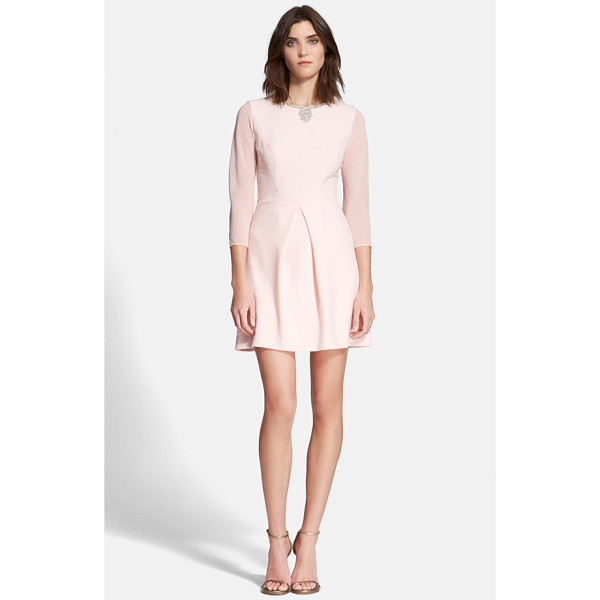 TED BAKER haswell embellished three quarter sleeve a-line dress - No need for extra neckwear-a cluster of twinkling...