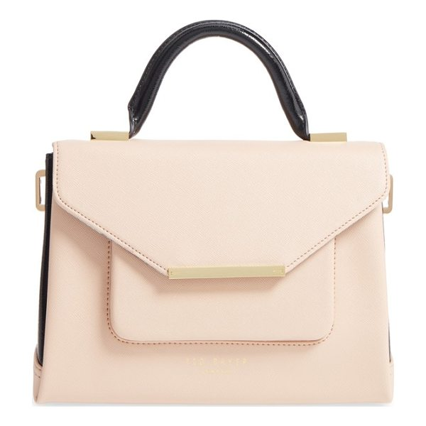 TED BAKER faux leather satchel - Chic color-blocked styling adds to the smart look of a...