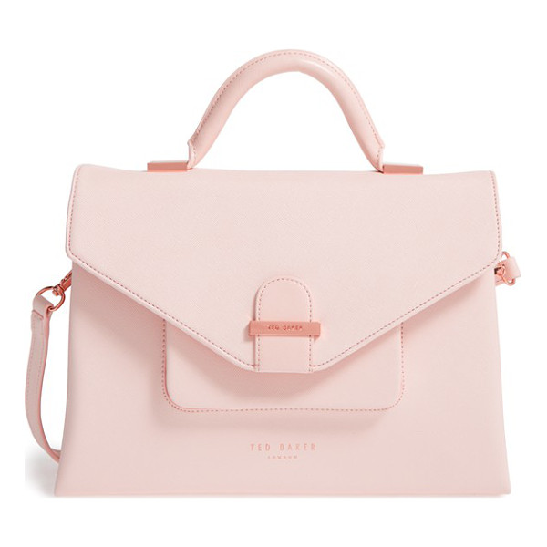 TED BAKER faux leather satchel - A chic mix of crosshatched and glossy faux leather adds to...