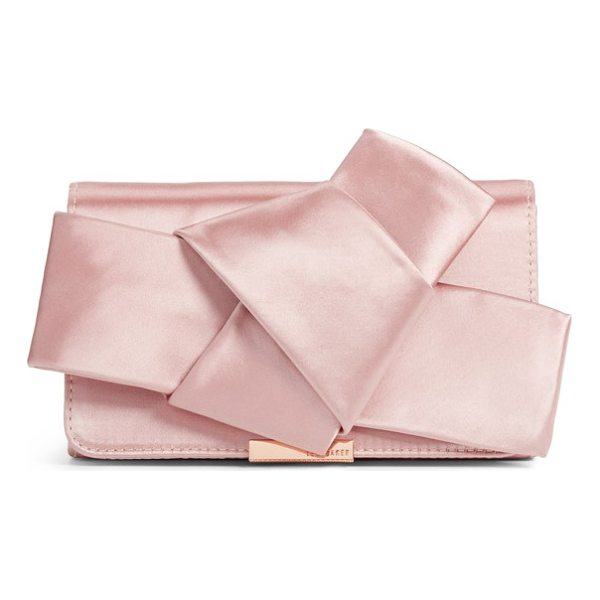 TED BAKER fefee satin knotted bow clutch - An asymmetrical knotted bow adds pretty dimension at the...