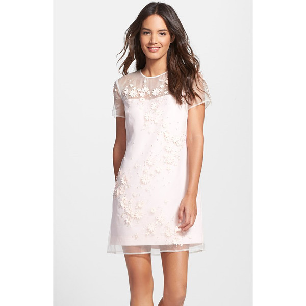 TED BAKER 'findon' embellished silk organza dress - Like morning dewdrops, pearly and clear beads accent pretty...