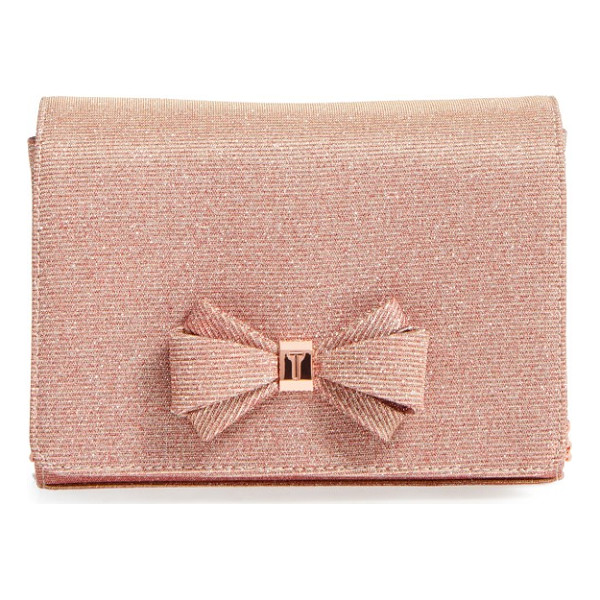 TED BAKER glitter bow clutch - Rose-gold logo hardware highlights the dainty bow of a...