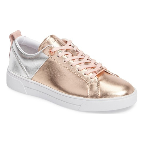 TED BAKER kulei lace-up sneaker - Metallic detailing defines a mixed-finish leather sneaker...