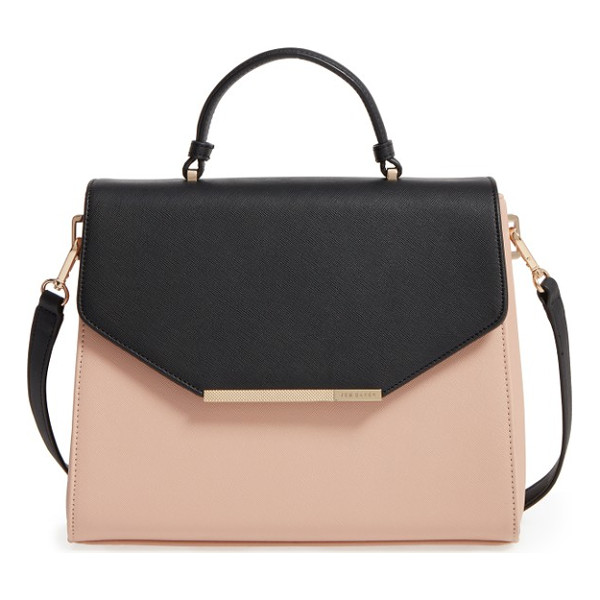 TED BAKER LONDON large faux leather satchel - Gleaming hardware enhances the ladylike look of a