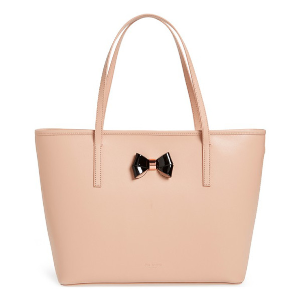 TED BAKER Large logo bow leather shopper - A pert-and-polished bow with rose-goldtone hardware refines...