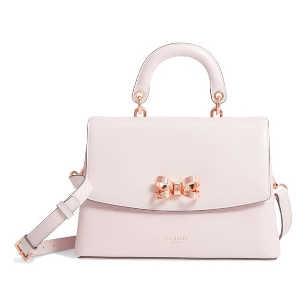 TED BAKER lauree looped bow leather satchel - A looped logo bow centers the smooth flap of a...