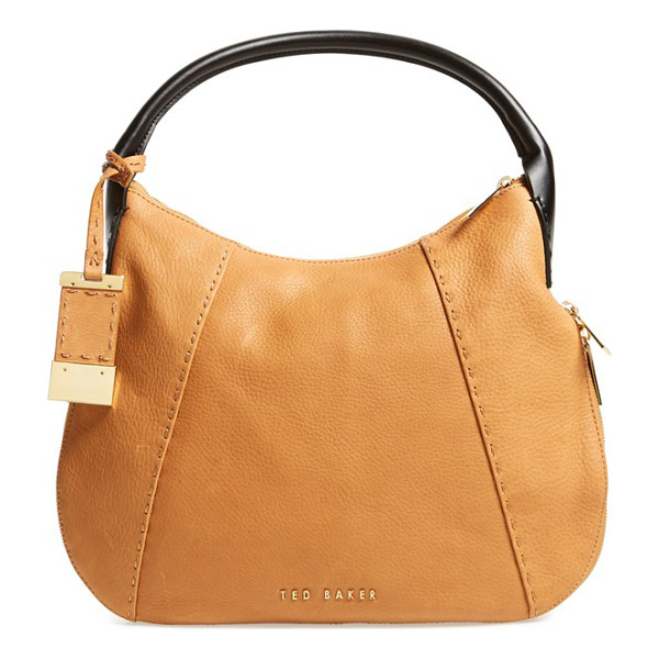 TED BAKER Leather hobo bag - A lightly structured hobo bag pieced from richly pebbled...