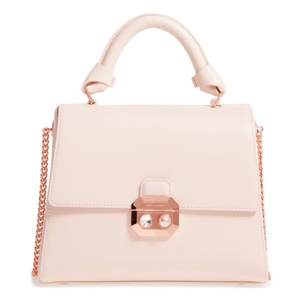 TED BAKER leather top handle satchel - A faceted crystal and pearly bead highlight the polished...