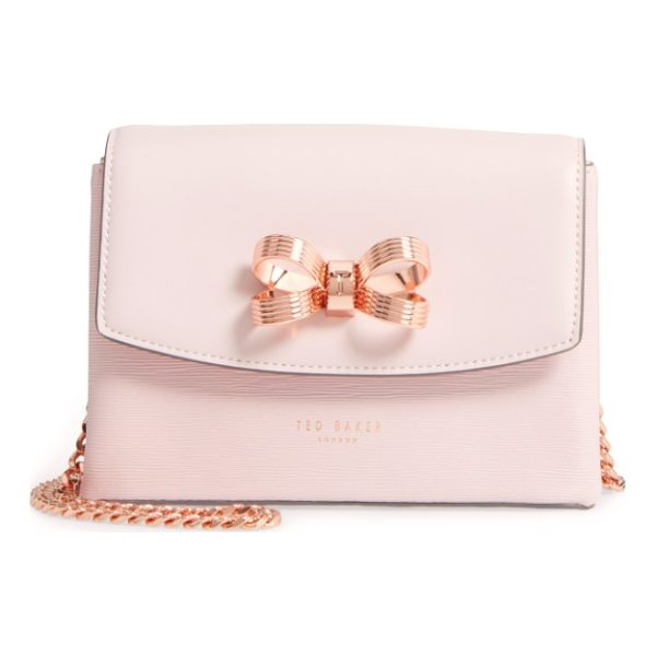 TED BAKER leorr bow leather crossbody bag - A gilt bow adds signature gleam to a compact crossbody bag...