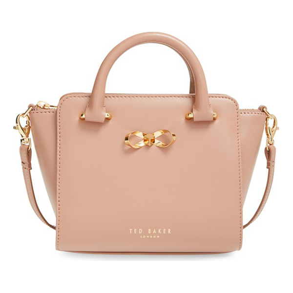 TED BAKER Loop bow mini leather tote bag - A tiny take on a ladylike structured leather tote is the...