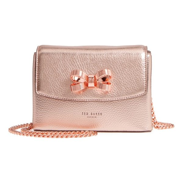 TED BAKER lupiin metallic leather crossbody bag - A signature bow provides an elegant finishing touch for a...