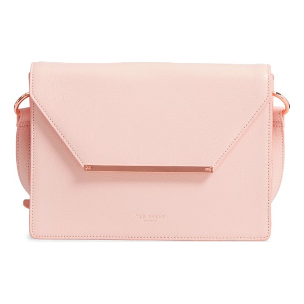 TED BAKER magsie bar detail leather envelope clutch - A textured logo bar marks the flap of a boxy envelope...
