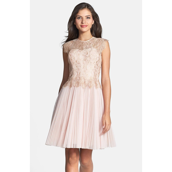 TED BAKER remma metallic lace overlay fit & flare dress - Delicate gold-threaded lace brushed with eyelash fringe...