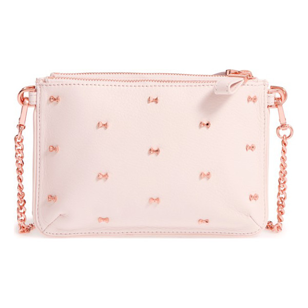 TED BAKER Micro bow leather crossbody bag - Micro-scale bows march in pretty little lines across one of...