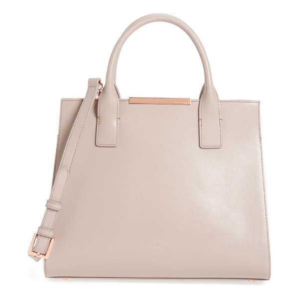 TED BAKER mini colorblock leather tote - A prim, lightly textured leather tote features a sleek logo...