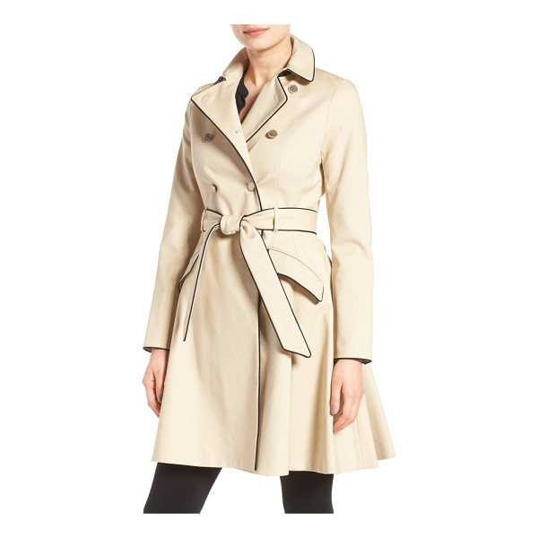 TED BAKER piped belted a-line macintosh coat - Contrast piping sharpens the refined style of a timeless,...