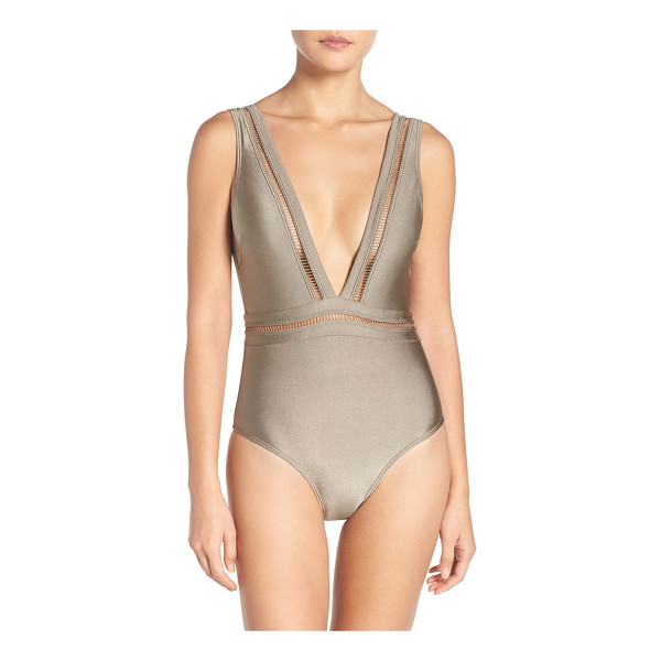 TED BAKER plunge one piece swimsuit - A plunging neckline spotlights this daring one-piece...