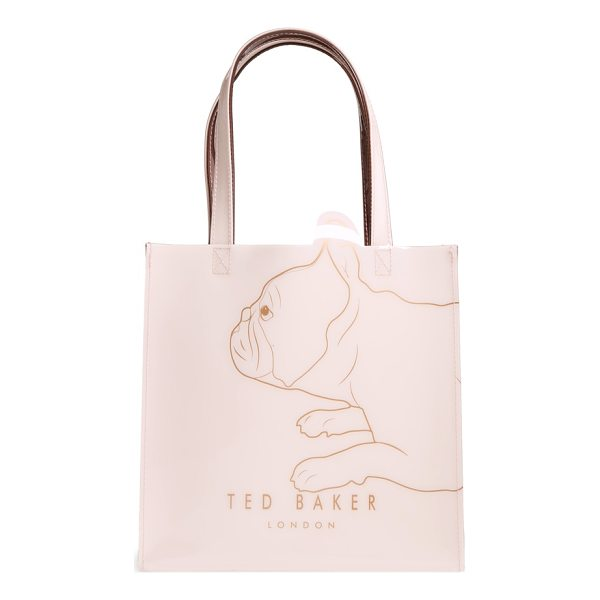 TED BAKER pupcon cotton's fairytale small icon tote - A sketch of an adorable French bulldog in gleaming foil...