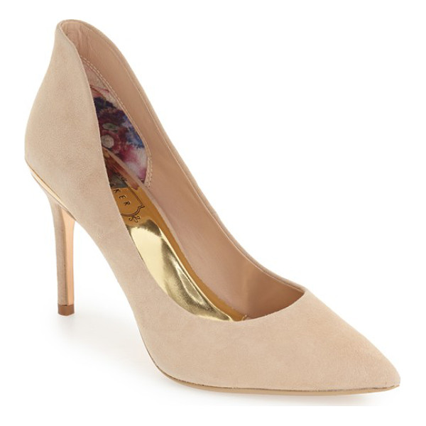 TED BAKER 'saviy' leather pump - Rose goldtone accents at the heel add a touch of glam to a...