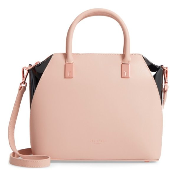 TED BAKER small ashlee leather tote bag - Rolled handles top a slightly domed tote with signature...