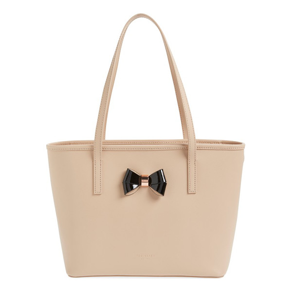 TED BAKER Small logo bow leather shopper - A pert-and-polished bow with logo-etched rose-goldtone...