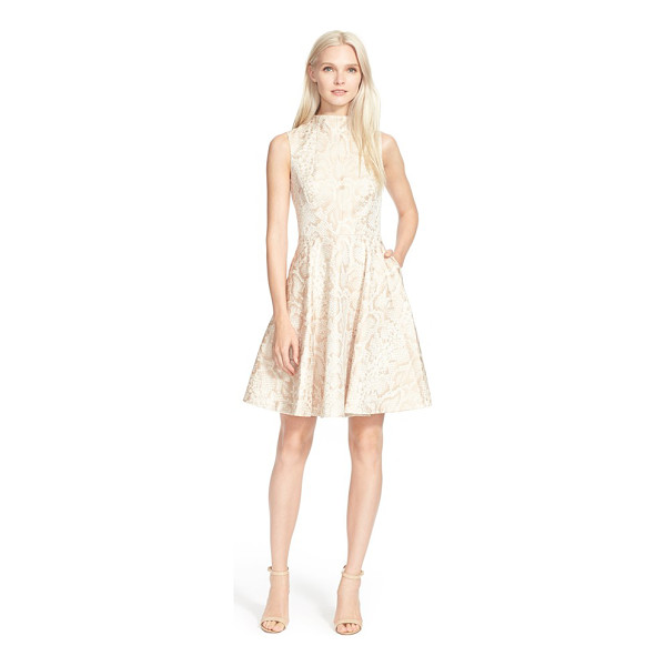 TED BAKER azraa snake jacquard fit & flare dress - A softly lustrous, serpentine jacquard design illuminates a...
