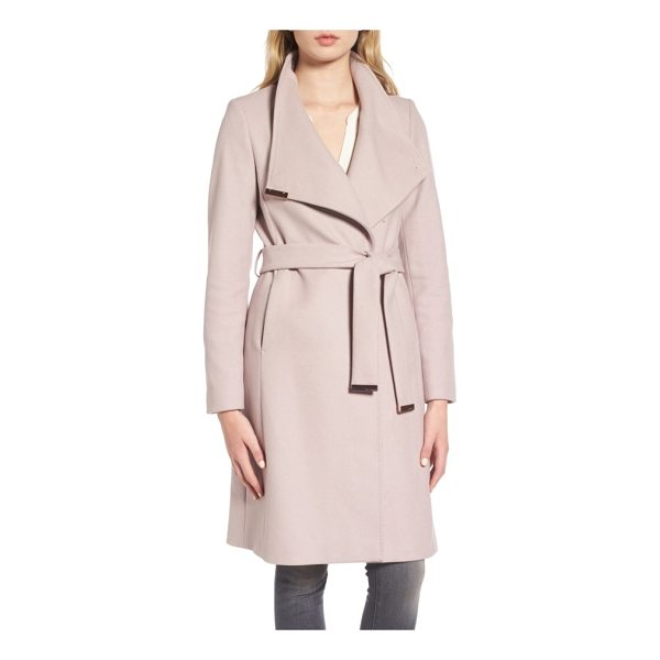 TED BAKER wool blend long wrap coat - Gleaming hardware polishes the elegant look of a long wrap...