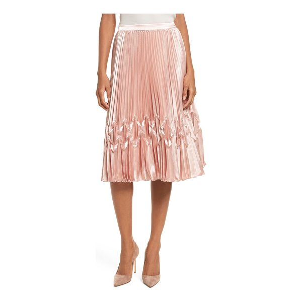 TED BAKER zigzag detail pleated midi skirt - A section of origami-like folds within the satiny pleats...