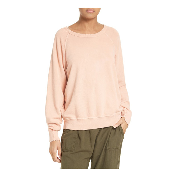 THE GREAT the college french terry sweatshirt - Subtle distressing around the rib-knit edge reinforces the...