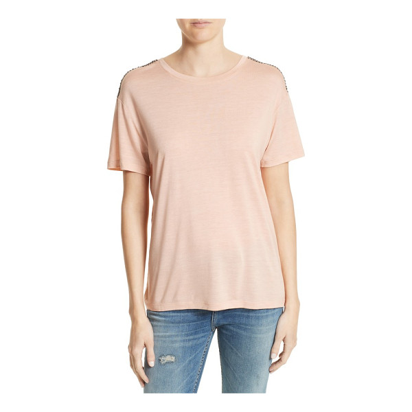 THE KOOPLES beaded tee - Beaded latticework runs from shoulder to shoulder atop this...