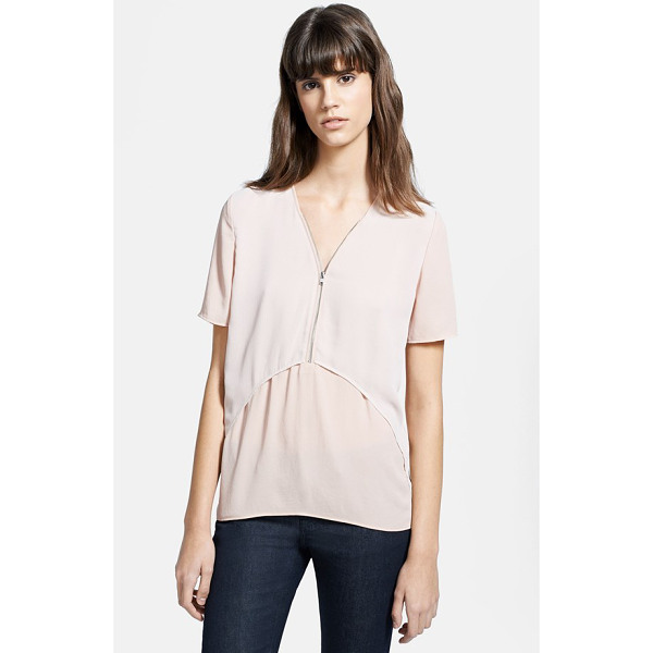 THE KOOPLES chiffon & crepe blouse - Soft volume defines a pale crepe blouse overlaid by a front...