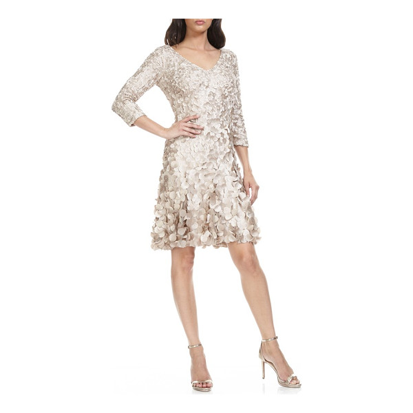 THEIA applique fit & flare dress - Graduated satin appliques are densely sewn to give allover...