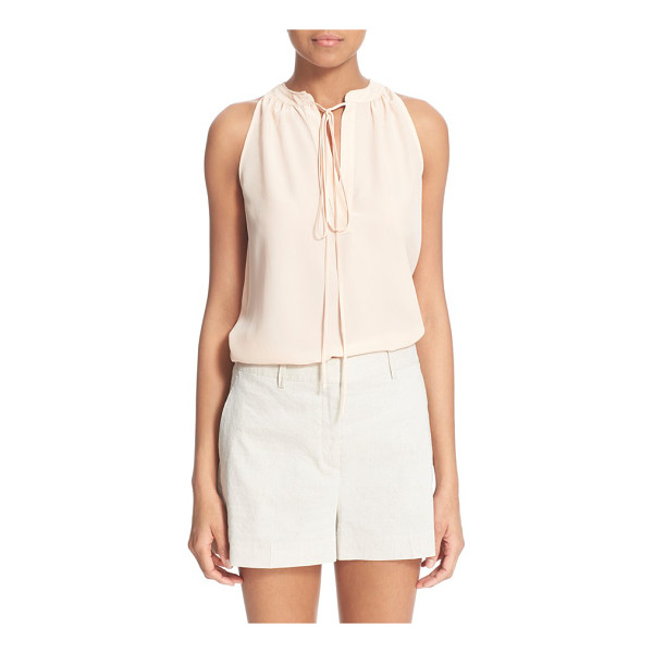 THEORY livilla tie front silk tank - Delicate gathers frame the split neck of this sleeveless...