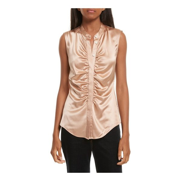 THEORY ruched fitted stretch silk blouse - Ruching along the placket adds elegance (and a bit of fit...