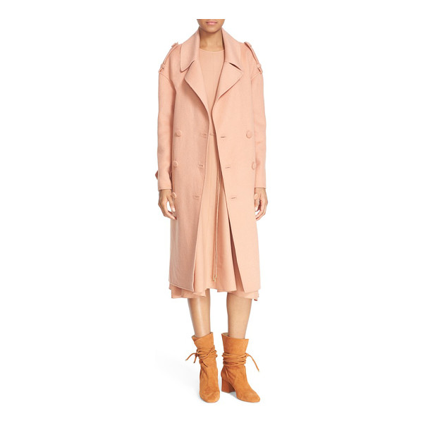 TIBI double face wool & angora trench coat - Slouchy drop-shoulder styling updates a double-breasted...