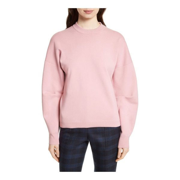 TIBI sculpted zip back pullover - A cozy pullover of wool-blend fleece knit gets a strikingly...