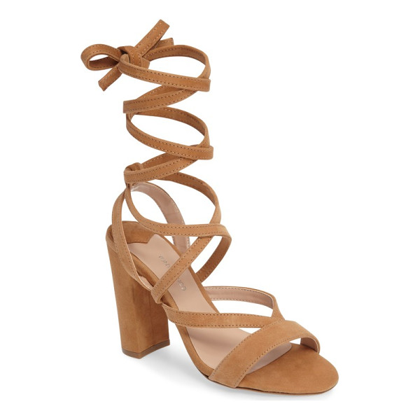 TONY BIANCO kappa ankle wrap sandal - Slender suede straps crisscross up the foot and wrap around...
