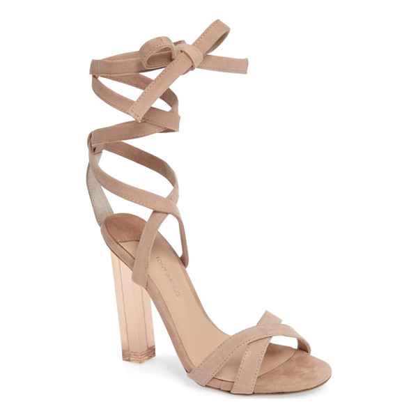 TONY BIANCO komma translucent heel sandal - A tinted, see-through stiletto molded in a square column...