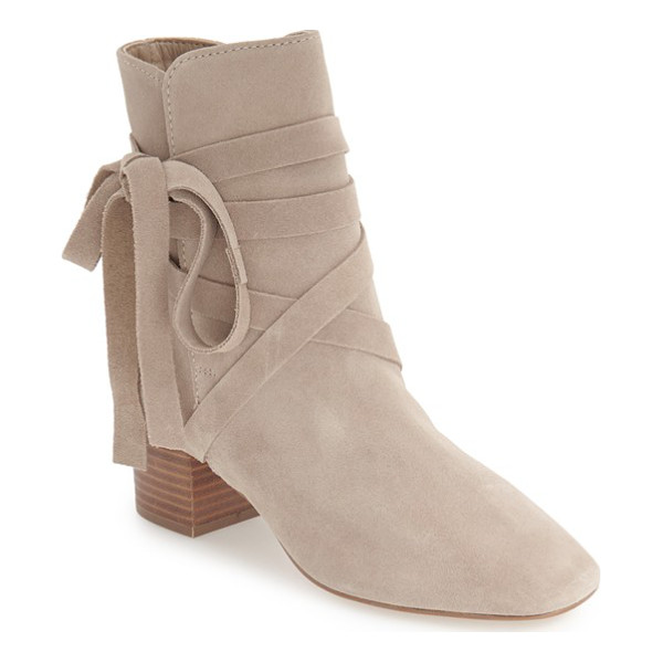 TOPSHOP 'anabel' lace-up boots - Slim suede laces wrap around the ankle of a chic bootie in...