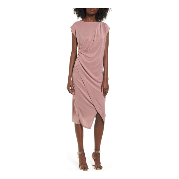 TOPSHOP asymmetrical slinky drape midi dress - Opposite shoulder and hip pleats flow into another for...